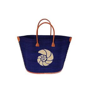Strandtasche BATO MOTIV SCHALE mit Leder Griffen - frosch und rabe