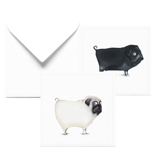 Glückwunschkarte zum Geburtstag | 2er Set Karten mit Mops/ Französische Bulldogge - Dori´s Prints