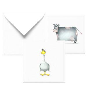 Glückwunschkarte zum Geburtstag| 2er Set Karten mit Ente und Kuh - Dori´s Prints