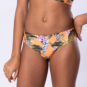 """Exotic Orange"" - Bikini Hose zum Wenden - Schwarz - Flying Love Birds"