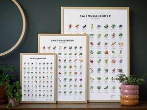 Saisonkalender Obst & Gemüse, Poster/Plakat in Farbe - Kupferstecher.Art
