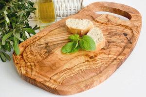 Steakbrett mit Rille und Grifflasche - Olivenholz erleben