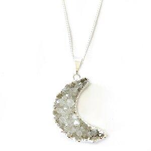 Moon - vergoldete Halskette mit Achatmond mit Kristalldruse - Crystal and Sage