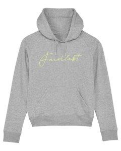 Hoodie aus reiner Bio-Baumwolle, grau, Fairliebt Logo neongelb - Fairliebt