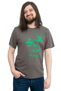 """Fair-Trade-Männershirt """"Brennnessel"""" - Made in Kenia - dunkelgrau - Hirschkind"""