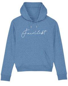 Hoodie aus reiner Bio-Baumwolle, hellblau, Fairliebt Logo weiß - Fairliebt