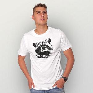 """""""Waschbär"""" Männer T-Shirt reine Biobaumwolle (kbA) - HANDGEDRUCKT"""