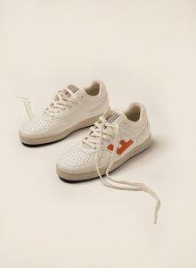 Sneaker Damen Vegan - RETRO 90's Sneakers - White Orange Bicolor - Flamingos' Life