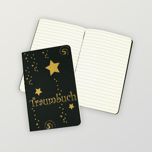 """schwarzes Notizheft """"Traumbuch"""" ca. DIN A6, liniert - HANDGEDRUCKT"""