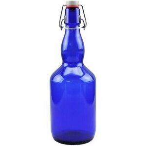 Glasflasche 750 ml blau mit Bügelverschluss - mikken