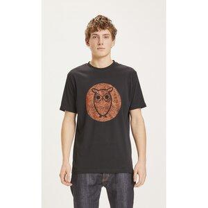 T-Shirt ALDER Basic Tee mit Eulen-Print Big Owl Lined - KnowledgeCotton Apparel