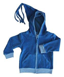 Kinder Nicky Kapuzenjacke blau Bio - Leela Cotton