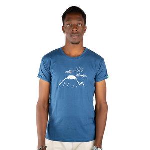 "Herren T-Shirt aus Bio-Baumwolle ""Kilimanjaro"" blau. Handmade in Kenya - Kipepeo-Clothing"
