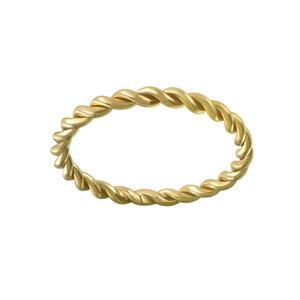 Breit geflochtener Ring aus 925er Sterling Silber - Gold - LUXAA®