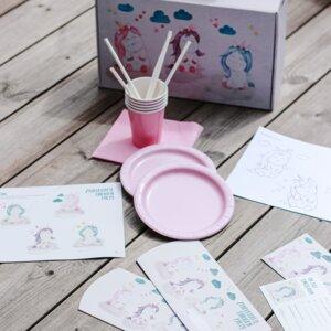 Partykoffer für Kindergeburtstag Motto Einhorn - Fines Papeterie