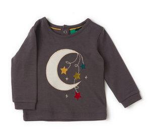 Baby langarm Shirt grau mit Applikation Bio Baumwolle - Little Green Radicals