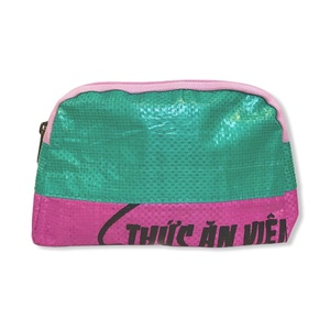 Kosmetiktasche Ri57 recycelter Reissack zweifarbig grün rosa - Beadbags