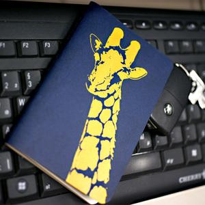 'Giraffe' NOTIZHEFT -blau- - shop handgedruckt