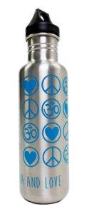 Yoga Trinkflasche LovePeaceOm 800 ml silber - YogiCompany