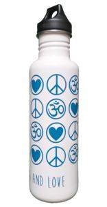 Trinkflasche LovePeaceOm 800 ml weiß - YogiCompany