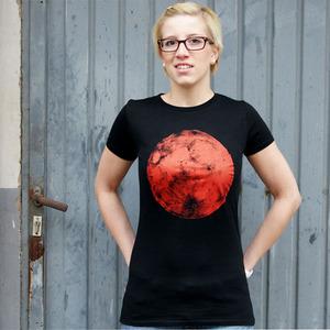 'Roter Mond' Frauen- T-SHIRT FAIR WEAR - shop handgedruckt