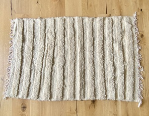 Rustikaler Naturcreme Berber Teppich aus reiner Wolle - LaMalve