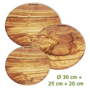 3er-Set Olivenholz Schneidebrett Massiv rund Ø 20, 25, 30cm - NATUREHOME