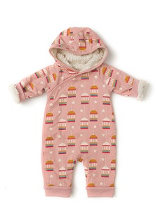 Baby Schneeanzug rosa Goldener Vogelkäfig Bio Baumwolle - Little Green Radicals