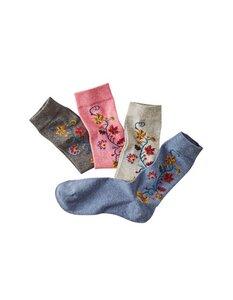 4er Pack Socken Diedlind mit Blumenranken-Motiv (garngefärbt) - Deerberg