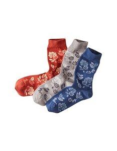 3er Pack Socken Dierka mit schlichten Blumen-Motiven (garngefärbt) - Deerberg