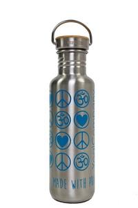 Yoga Trinkflasche Bamboo Verschluß LovePeaceOm 800 ml silber - YogiCompany