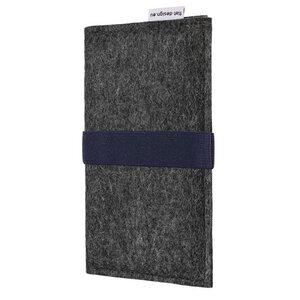 Handyhülle AVEIRO für Huawei P-Serie - VEGANer Filz - anthrazit - flat design by Mareike Kriesten