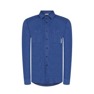 New Worker Hanf Hemd Blau - bleed