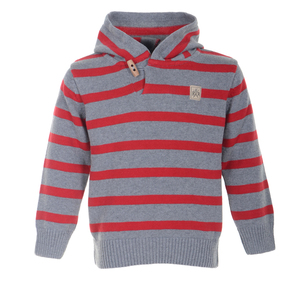 Strickkapuzenpullover (rot/grau gestreift) - Band of Rascals