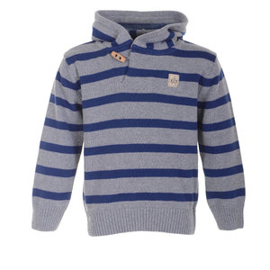 Strickkapuzenpullover (blau/grau gestreift) - Band of Rascals