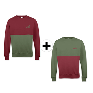 'Burgundy & Olive' Cut'n'Sew Sweatshirt Doppelpack UNISEX - What about Tee