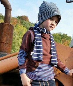 Kinder-/Baby-Kapuzenpulli Sweat braun mit braun-blau gestreifter Bauchtasche - Omilich
