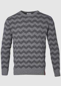 2 Color Zig Zag Knit Grey Melange - KnowledgeCotton Apparel
