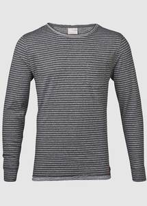 Tee Double Layer Yarndyed Striped GOTS Grey Melange - KnowledgeCotton Apparel