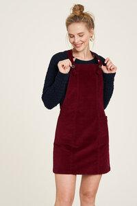 Cord-Kleid aus Biobaumwolle in Blau und Rot - TRANQUILLO