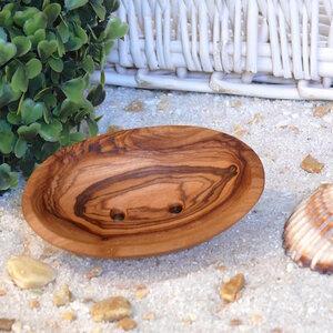 Seifenschale oval, mini aus Olivenholz - Olivenholz erleben