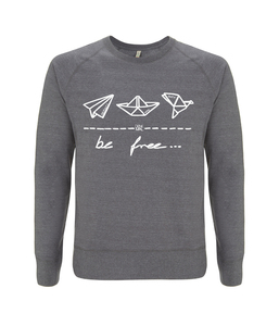 "be free – Unisex Sweatshirt ""melange grey"" - DENK.MAL Clothing"