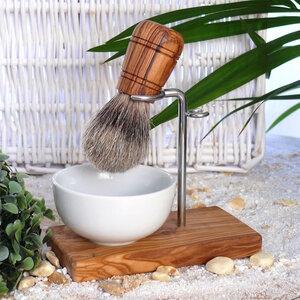 Rasierpinselhalter KLASSIK inkl. Rasierpinsel Kunsthaar mit Griff aus Olivenholz - Olivenholz erleben