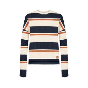 Captains Hanf Sweater Damen Blau/ Weiß - bleed