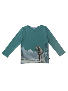 Kinder Langarm-Shirt Pferd reine Bio-Baumwolle - Enfant Terrible