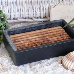 Seifenschale aus Schiefer mit Olivenholz-Inlay - Olivenholz erleben