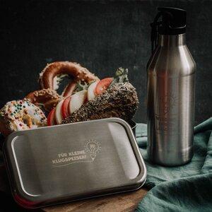 Brotzeit-Set Schule: Bestehend aus Edelstahl-Trinkflasche und Brotdose - tindobo