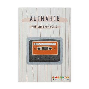 Aufnäher Kassette 'Mix Tape' aus Bio-Baumwolle - TELL ME
