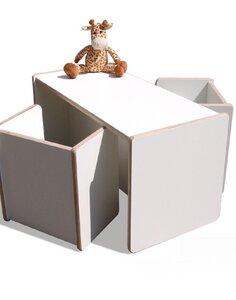 1 Kinder Wendetisch & 2 Wendehocker Set - weiß- sehr stabil - Die Schreiner Christoph Siegel