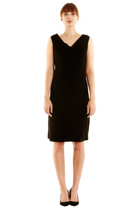 Lucie Sleeveless Velour Dress Black - People Tree